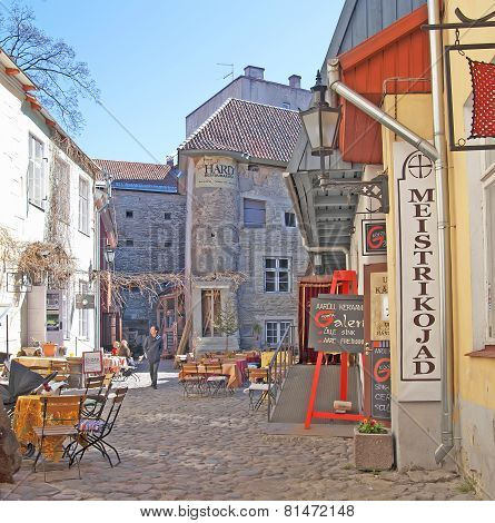 Tallinn. Estonia. Cafes and shops in Old Town