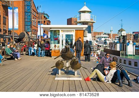 Oslo. Norway. People on Aker Brygge