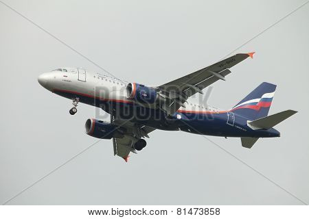 Airbus A319 in the air