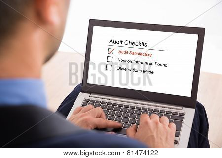 Businessman Filling Audit Checklist Form