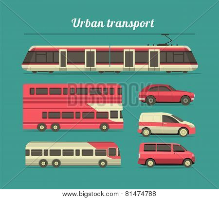 Set Of Urban Transport