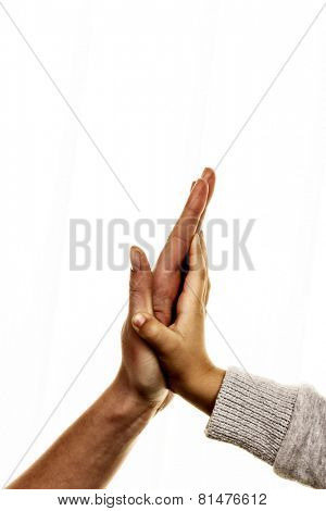 high five gesture, symbol for success, security, closeness, trust