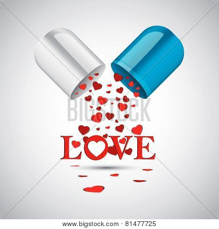 Multiple Hearts Inside Capsule Pill