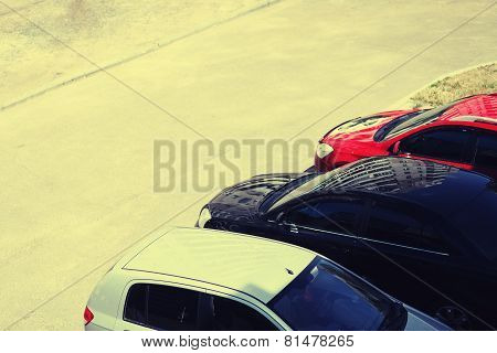 Parking Cars And Road, Vintage Background
