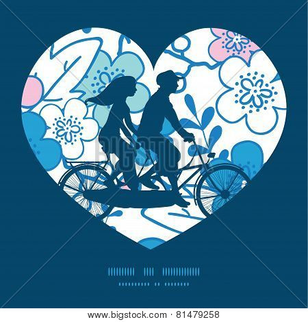Vector blue and pink kimono blossoms couple on tandem bicycle heart silhouette frame pattern greetin