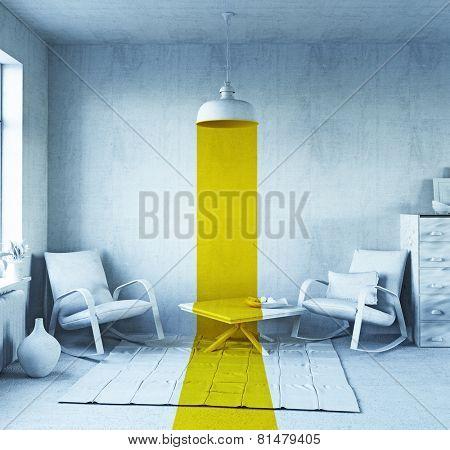 concept art - style interior. 3d rendering