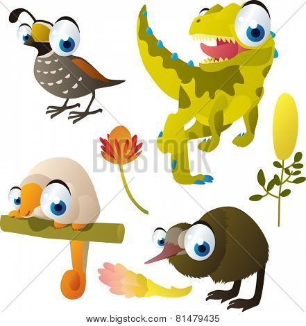set of cute comic animals: quail, dinosaur, couscous, kiwi