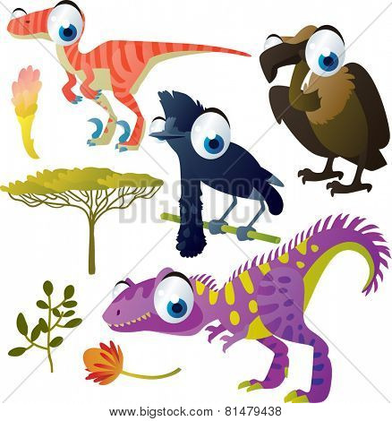 set of cute comic animals: dinosaur, vulture, umbrella bird