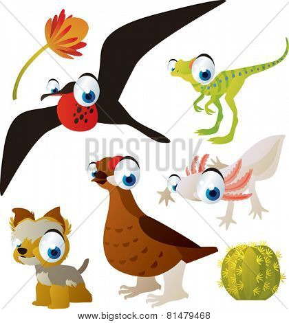 set of cute comic animals: frigate bird, dinosaur, grouse, yorksire terrier, axolotl