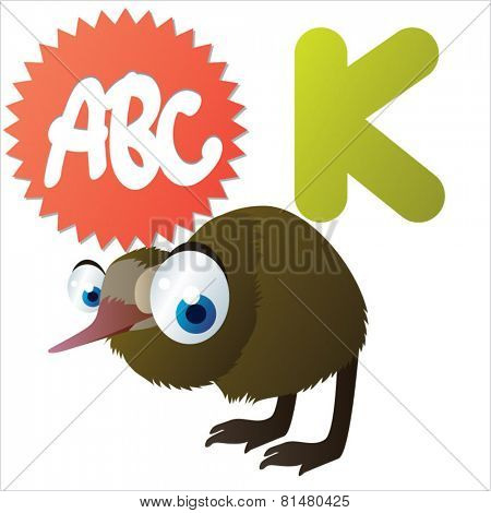 animal abc: K is for cute little comic cartoon illustration of Kiwi
