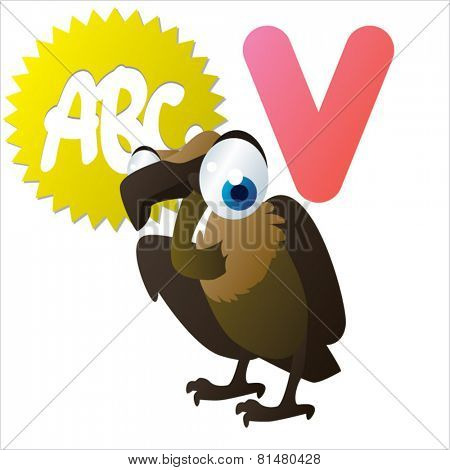 animal abc: V is for cute little comic cartoon illustration of Vulture