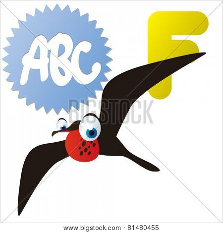 animal abc: F is for cute little comic cartoon illustration of Frigate Bird