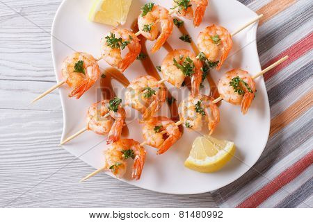 Grilled Shrimp On Skewers Close-up. Horizontal View From Above
