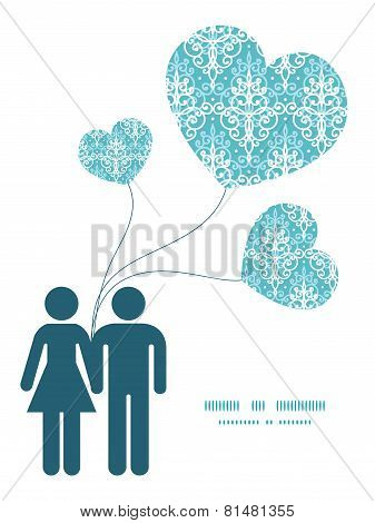 Vector light blue swirls damask couple in love silhouettes frame pattern invitation greeting card te