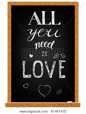 Love Lettering On Chalkboard