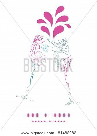 Vector gray and pink lineart florals toasting wine glasses silhouettes pattern frame