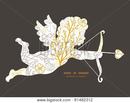 Vector magical floral shooting cupid silhouette frame pattern invitation greeting card template