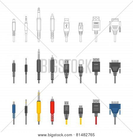 Vector various audio connectors and inputs set