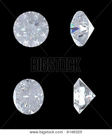 Top, Bottom And Side Views Of Brilliant Diamond