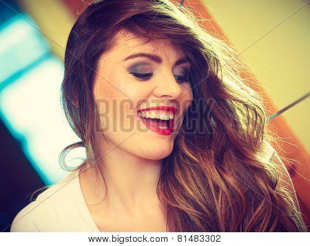 Smiling Teen Girl Long Hair Portrait