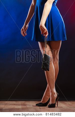 Woman In Heels Holds Handbag, Disco Club