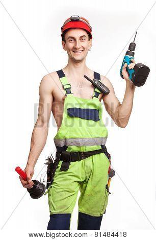 Workman in light green uniform