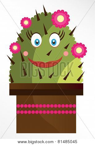 Isolated smiling cactus on white background