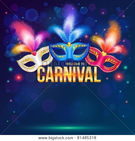 Bright carnival masks on dark blue background