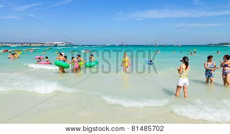 Tourists Playing At Beach, In Koh Larn, Pattaya, Thailand