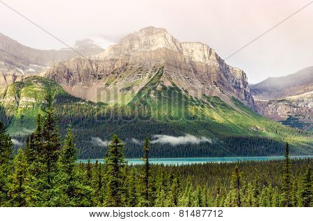 Scenic Mountain View Near Icefields Parkway, Canadian Rockies