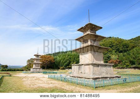 Two Three Story Stone Pagoda At The Gameunsa Site