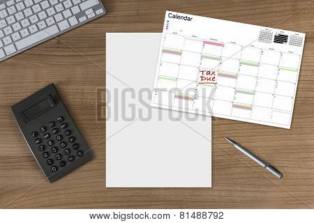 Calendar Tax Due Blank Sheet And Calculator On Wooden Table
