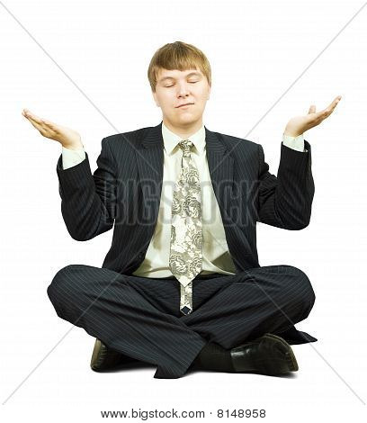 Businessman In Yoga Position
