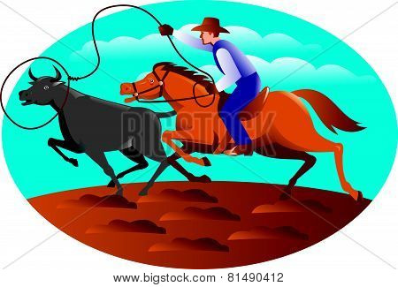 Cowboy Riding Horse Lasso Bull Cow