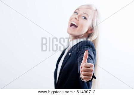 Ok Woman Thumbs Up Smiling Blonde