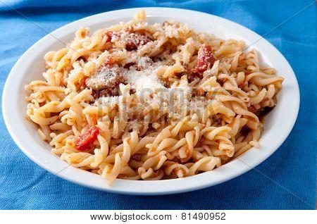 Pasta Fusilli With A Vegetarian Tomato Sauce
