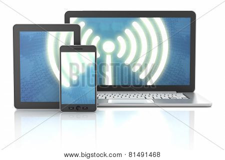 Smartphone, tablet and laptop wireless connection, 3d render