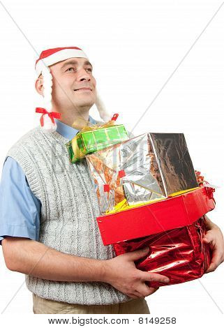 Adult Men With Christmas Gifts Over White