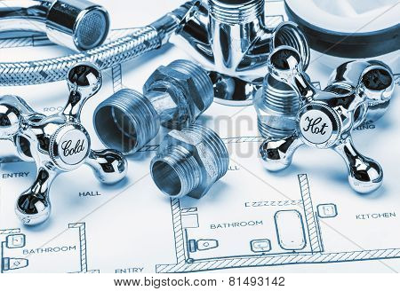 Spare Parts And Tools Lying On Drawing For Repair Plumbing