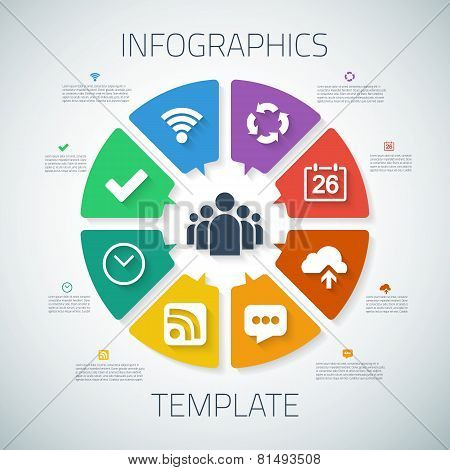 Web Infographic Timeline Pie Template Layout With Vector Icons,