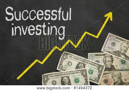 Text on blackboard with money - Successful investing