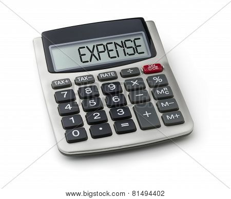 Calculator with the word expense on the display