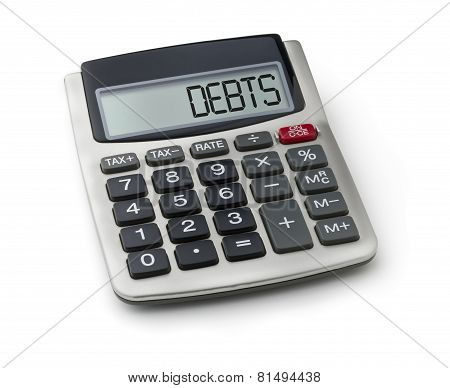 Calculator with the word debts on the display