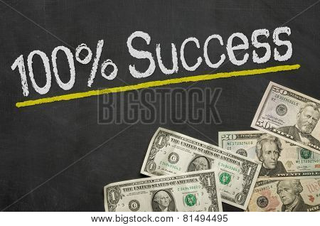 Text on blackboard with money - 100 percent success