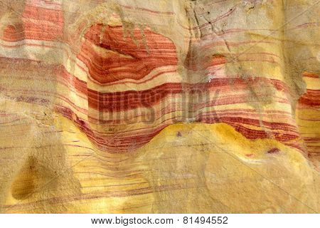 Colored Rock In Negev Desert.