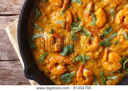Prawns In Curry Sauce Close-up. Horizontal View From Above