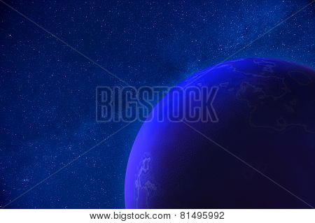 Real Night Sky With Stars And 3D Planet
