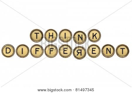think differently reminder or advice  in old round typewriter keys isolated on white