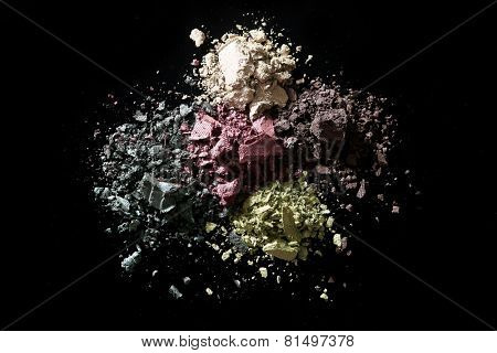 Crushed Eye Shadow Sets on Black Background