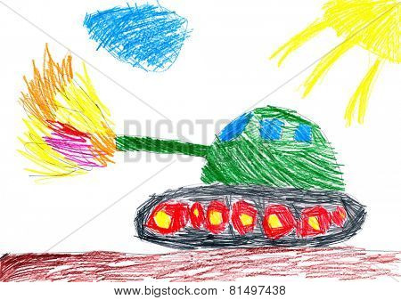 panzer shoots. child drawing.